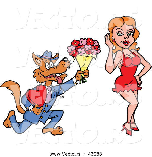 Vector of a Loving Cartoon Wolf Offering Flowers and a Love Heart Candy Box to a Pretty Girl