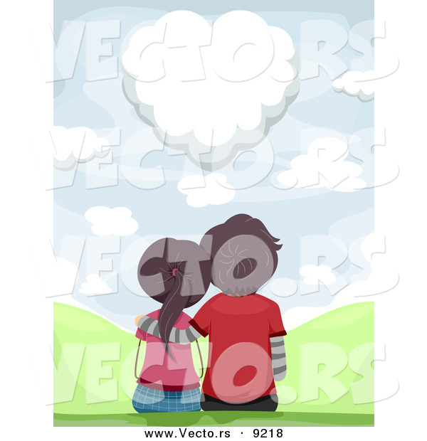 Vector of a Loving Couple Sitting Together While Gazing at a Heart Shaped Love Cloud