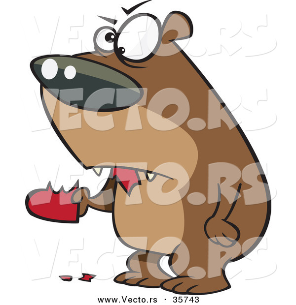 : Vector of a Mad Cartoon Bear Eating a Valentine Love Heart