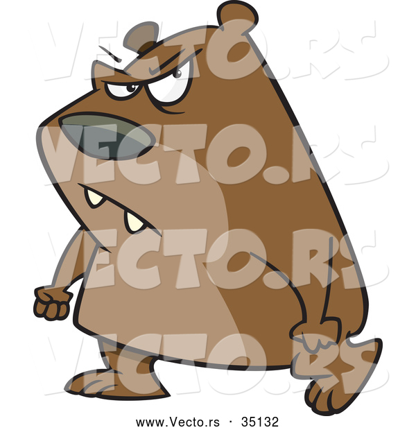 Vector of a Mad Cartoon Bear Walking with Clenched Fists and an Evil Facial Expression