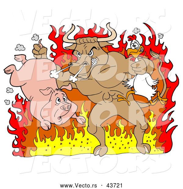Vector of a Mad Cartoon Bull Choking a Chicken and Holding a Pig While Standing in Hot Fire