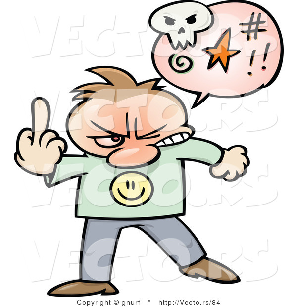 Vector of a Mad Cartoon Guy Giving the Middle Finger Hand Sign