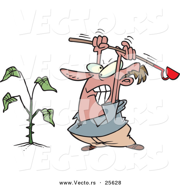 Vector of a Mad Cartoon Man Destroying a Weed with a Garden Hoe Tool