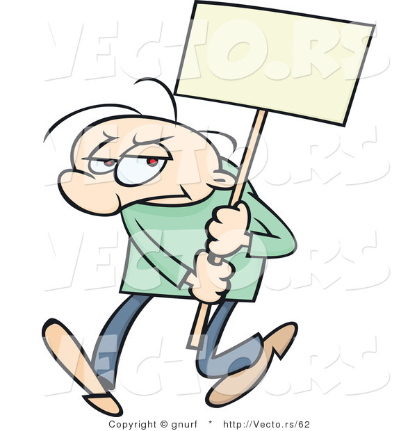 Vector of a Mad Cartoon Man Protesting with a Blank Sign