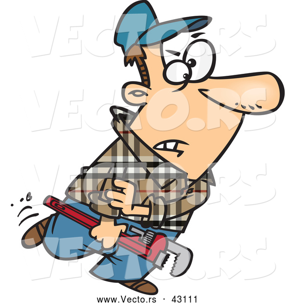 Vector of a mad cartoon plumber carrying wrench and