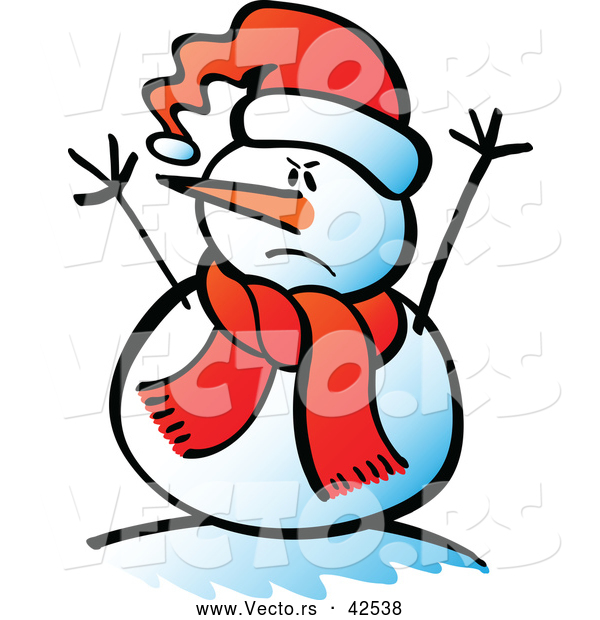 royalty free vector graphic of a mad cartoon snowman. This snowman ...