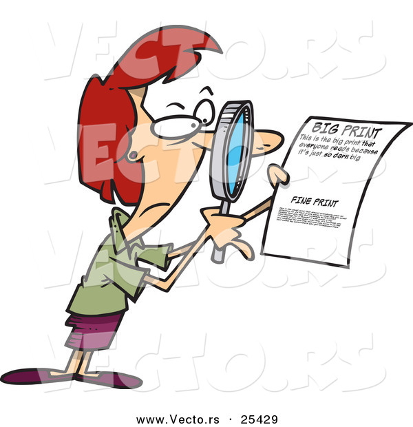 Vector of a Mad Cartoon Woman Reading Fine Print on a Legal Contract with a Magnifying Glass