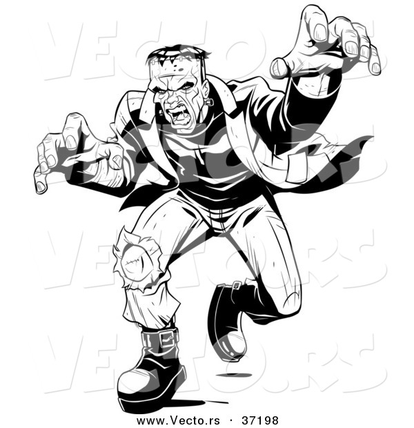 Vector of a Mad Frankenstein Walking Forward in Attack Mode - Black and White Halloween Line Art