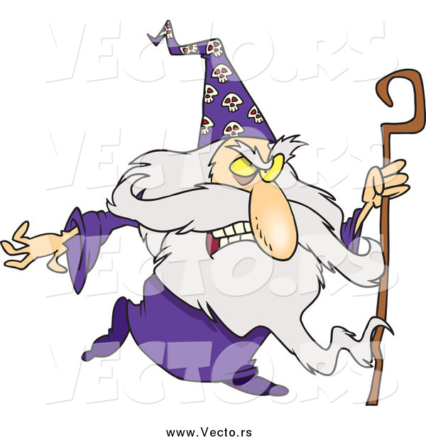Vector of a Mad Old Wizard with a Cane