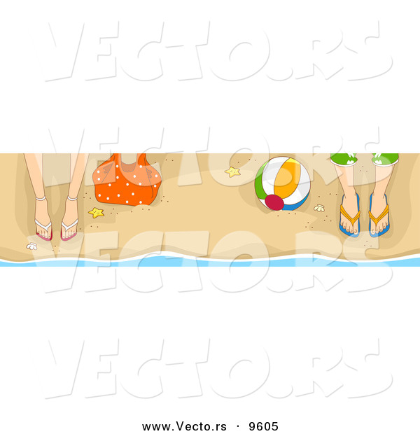 Vector of a Male and Female Legs and Feet in Sandals on a Beach with a Ball