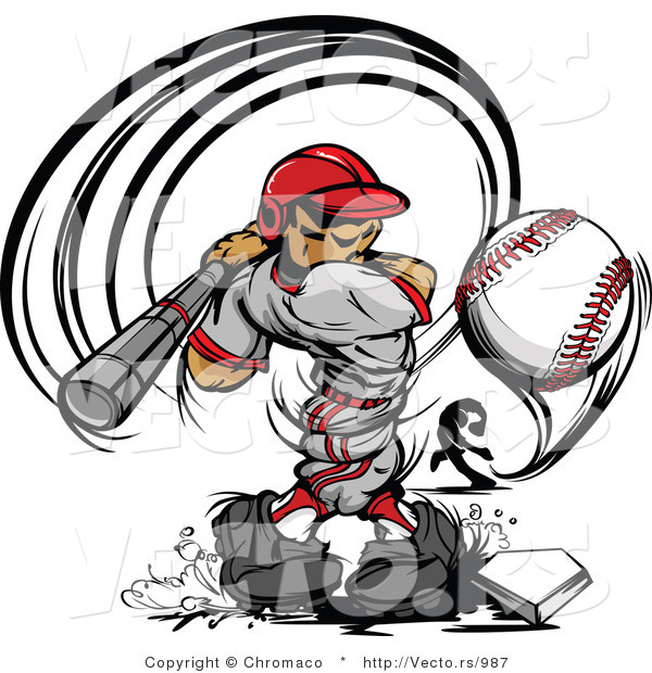 Vector of a Male Baseball Player Striking-Out to a Competitive Pitcher's Curve Ball