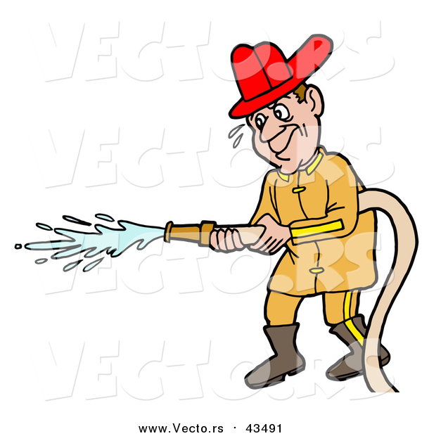 Vector of a Male Caucasian Fireman in a Uniform and Red Hardhat, Operating a Water Hose
