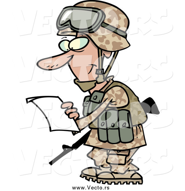 Vector of a Marine Soldier Man in a Camouflage Uniform and Helmet, Reading a Letter