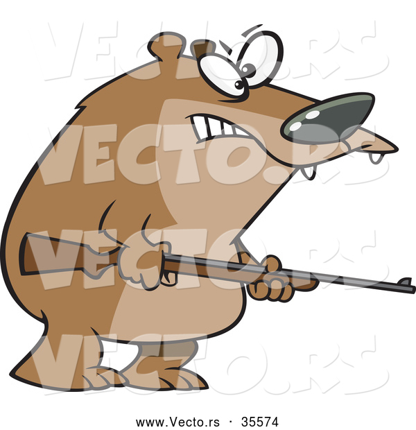 Vector of a Menacing Cartoon Bear Armed with a Hunting Rifle