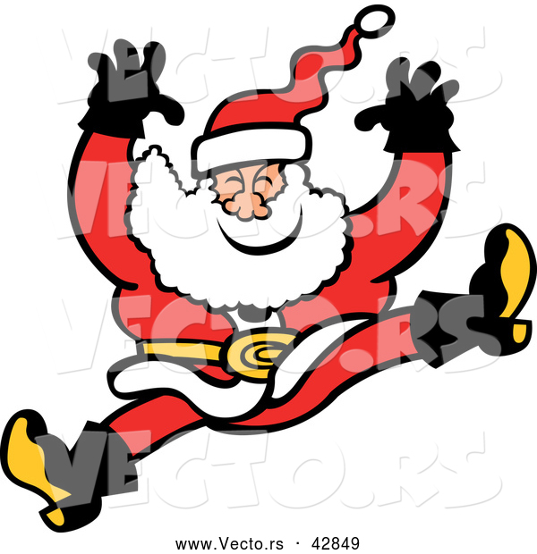 Vector of a Merry Cartoon Santa Jumping and Falling
