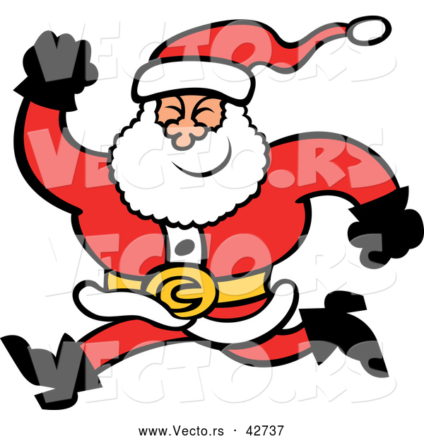 : Vector of a Merry Cartoon Santa Running Forward with a Big Smile