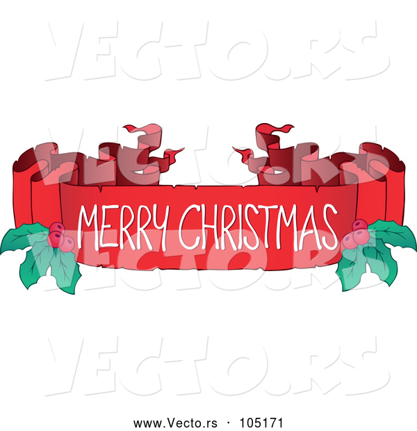 Vector of a Merry Christmas Blank Ribbon Banner with Holly