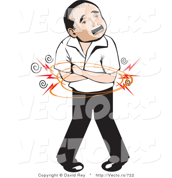 Vector of a Mexican Man with Painful Stomach Ache