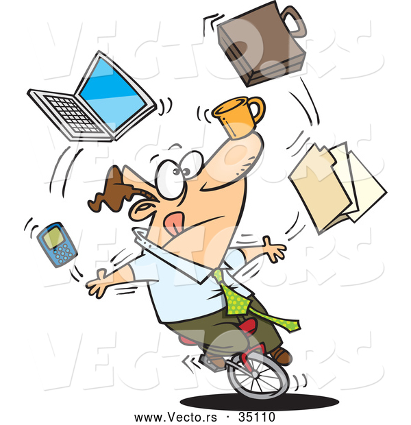 Vector of a Multitasking Cartoon Businessman Juggling Office Things While Riding on a Unicycle