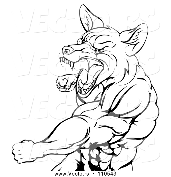 : Vector of a Muscular Cartoon Fox Man Mascot Aggressively Punching in Black Lineart