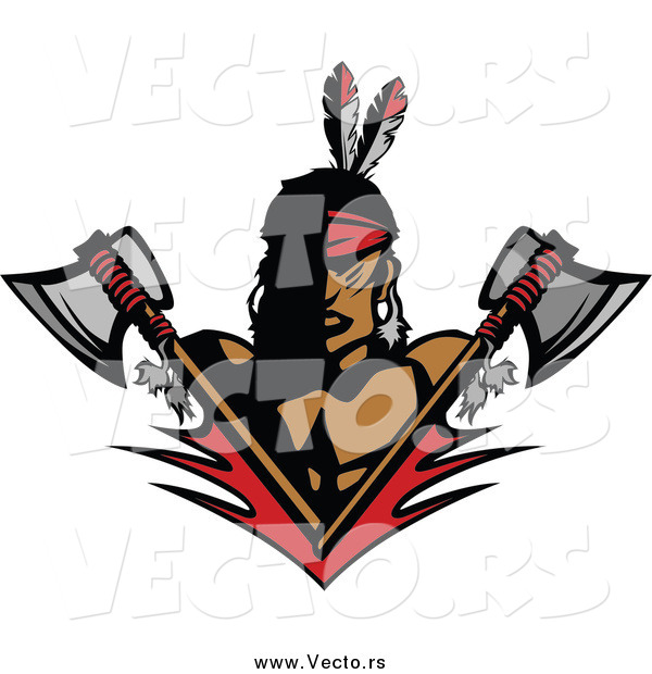 Vector of a Native American Brave Man with Crossed Axes