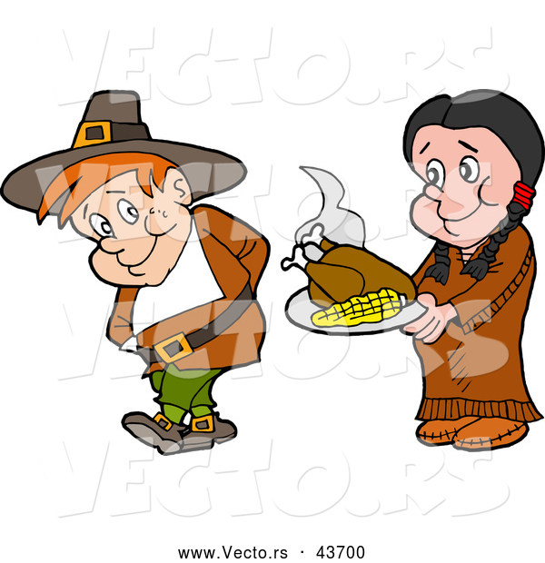 Vector of a Native American Cartoon Woman Offering a Pilgrim Thanksgiving Turkey and Corn