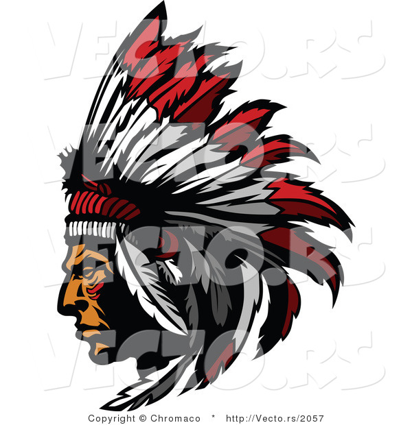 Vector of a Native American Chief Wearing Feather Headdress