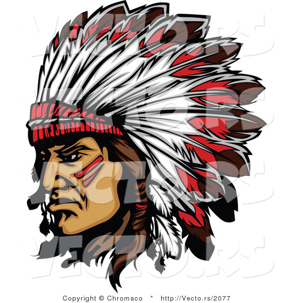 Vector of a Native American Chief Wearing Feathered Headdress While Grinning