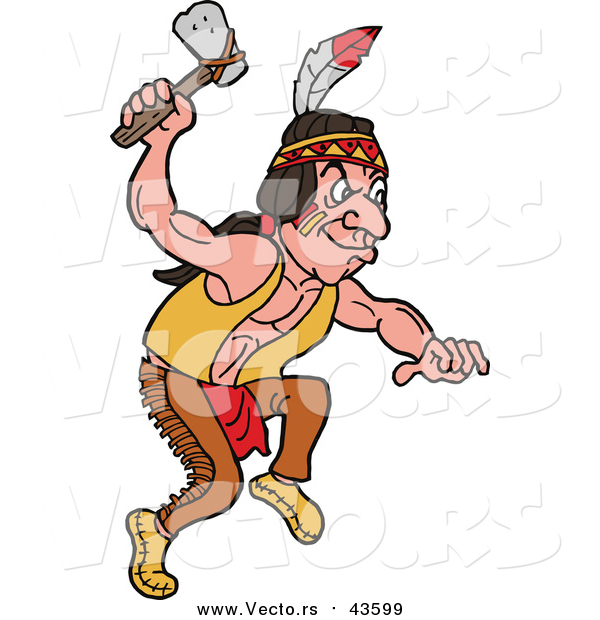 Vector of a Native American Indian Man with an Axe