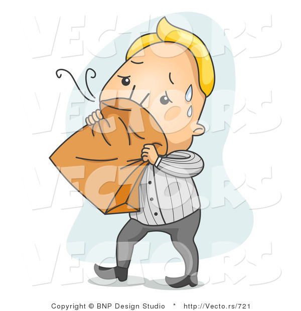 Vector of a Nauseated Cartoon Man Breathing into a Paper Bag