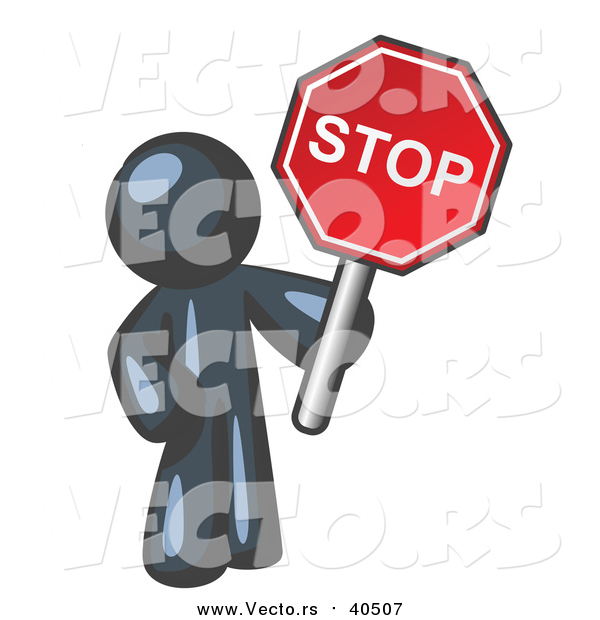 Vector of a Navy Blue Man Holding a Red Stop Sign