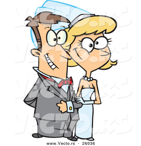 Vector of a Nervous Cartoon Bride and Groom