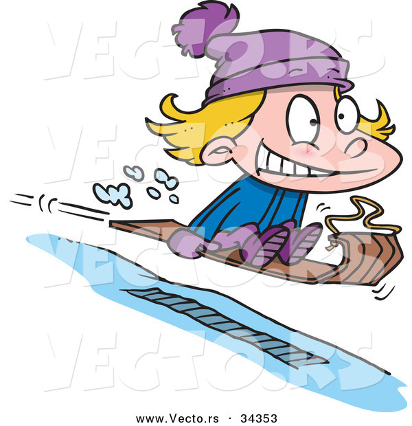 Vector of a Nervous Cartoon Girl Going Airborne While Snow Sledding