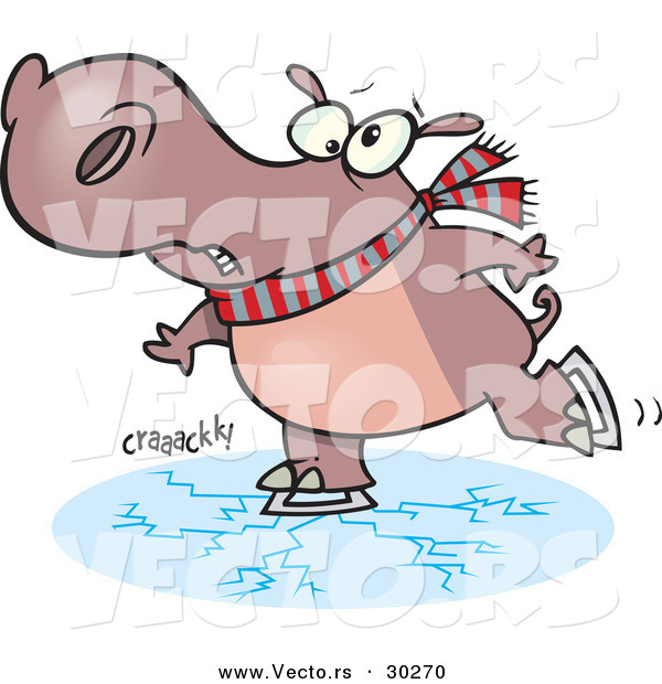 Vector of a Nervous Cartoon Hippo Skating on Thin Ice