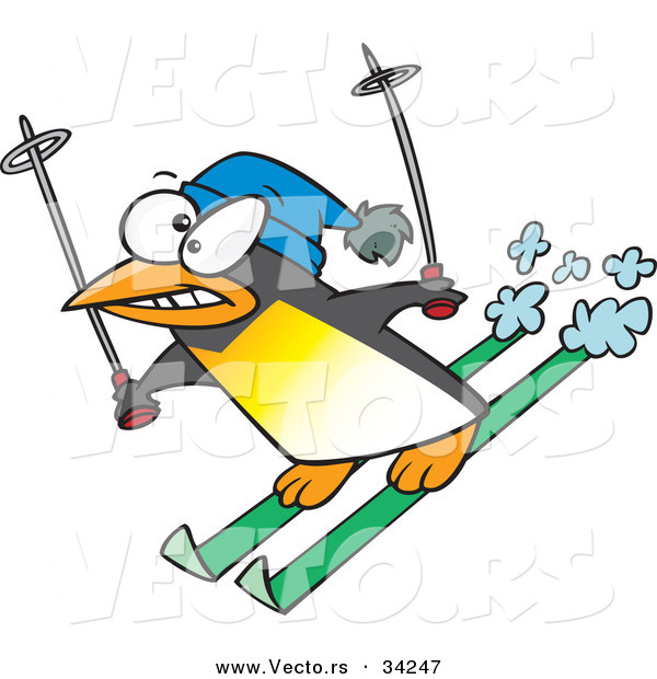 Vector of a Nervous Cartoon Penguin Snow Skiing