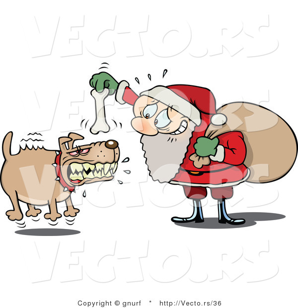 Vector of a Nervous Cartoon Santa Trying to Bait a Vicious Dog with a Bone