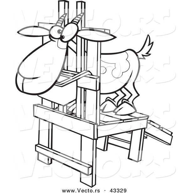 Vector of a Nervouse Cartoon Goat Standing in a Milk Stand - Coloring Page Outline