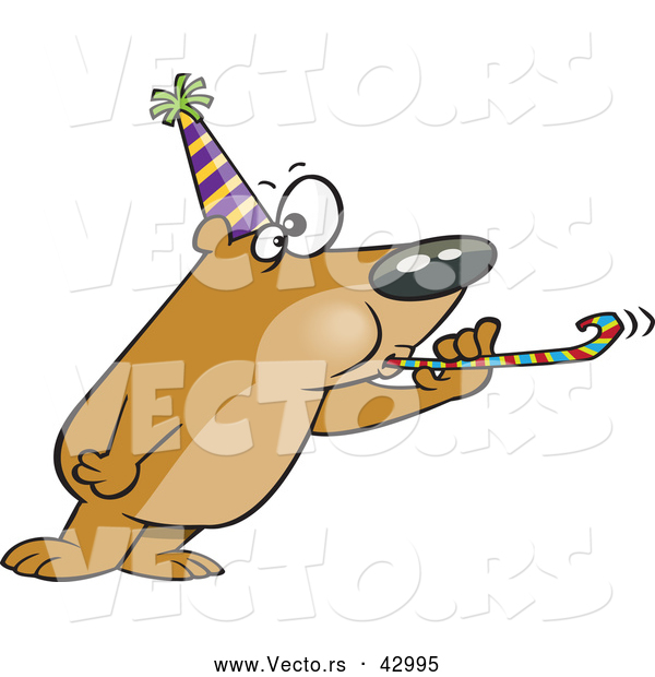 Vector of a New Year Cartoon Party Bear Blowing a Noise Maker