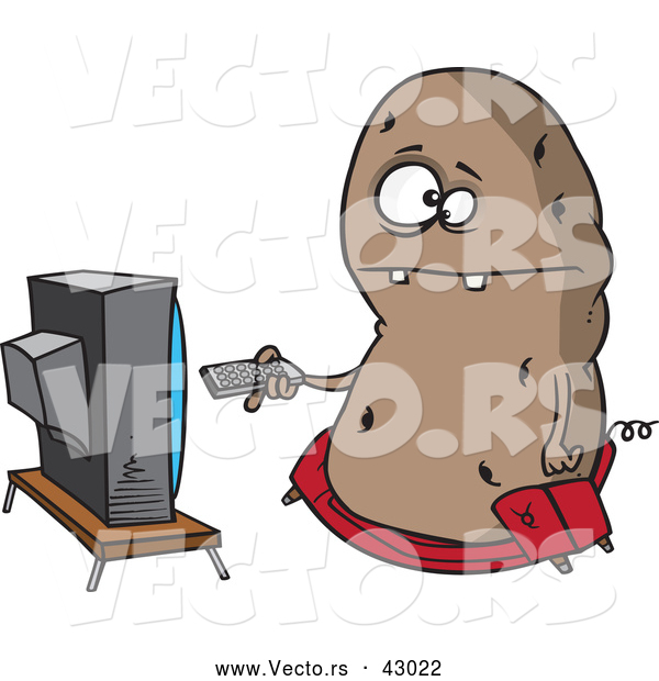 Vector of a Obese Cartoon Couch Potato Character Flipping Through Channels on the Tv
