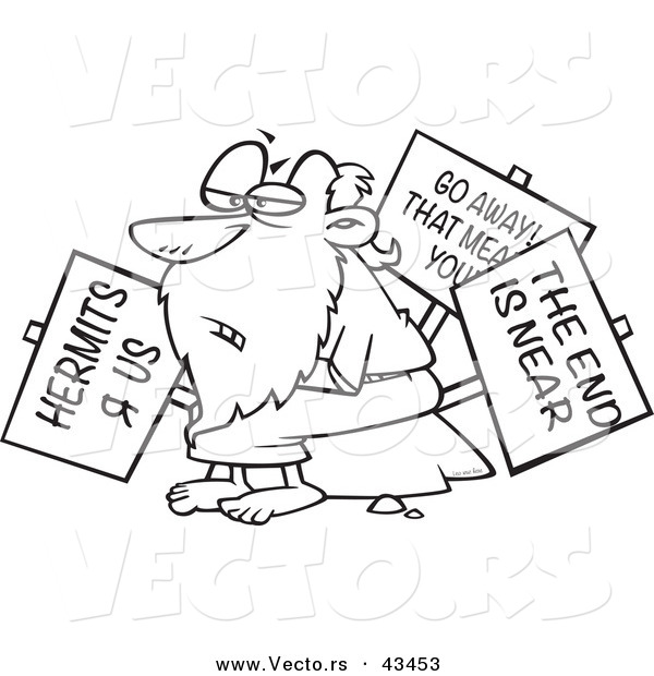 Vector of a Old Cartoon Hermit Man Holding Signs - Coloring Page Outline