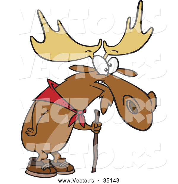 Vector of a Old Hiking Cartoon Moose Using a Walking Stick