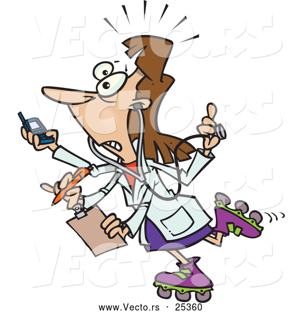 Vector of a Overworked Cartoon Female Doctor Trying to Handle Multiple Jobs with 4 Hands