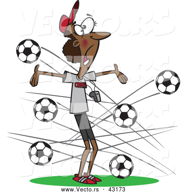 Vector of a Panicking Cartoon Black Female Soccer Coach Dodging Balls Flying Towards Her