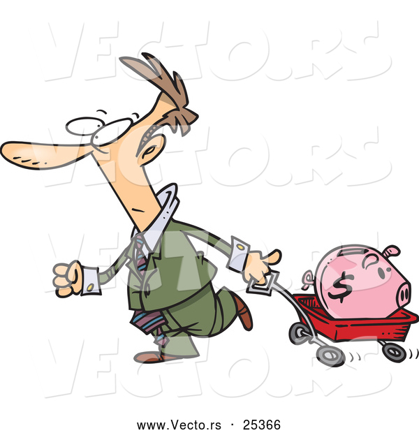 Vector of a Panicking Cartoon Businessman Transporting His Piggy Bank with a Wagon
