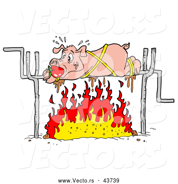 Vector of a Panicking Cartoon Pig Roasting over a Fire