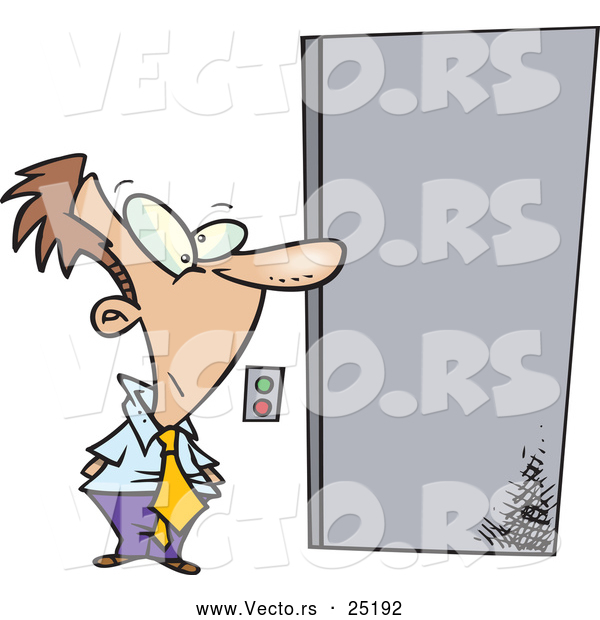 Vector of a Patient Cartoon Businessman Waiting for Elevator Doors to Open