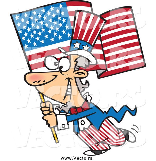 Vector of a Patriotic Uncle Sam Carrying an American Flag
