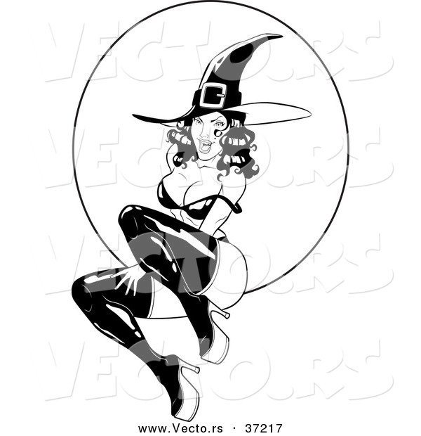 Vector of a Pin-Up Girl Witch in Front of Full Moon - Black and White Line Art