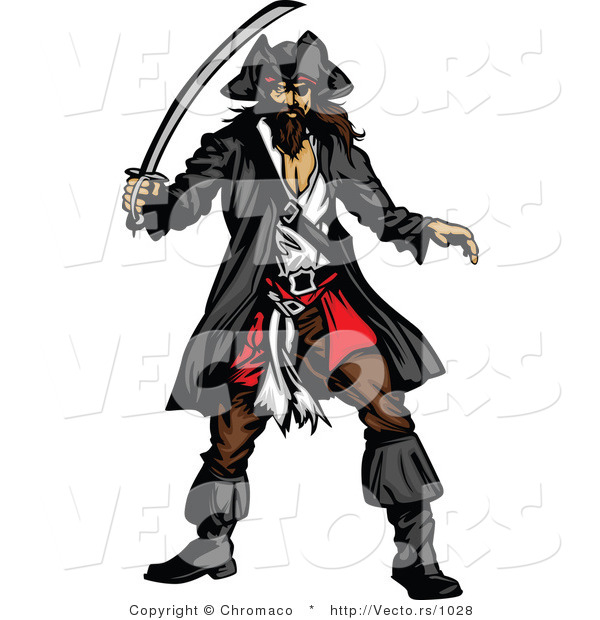 Vector of a Pirate Prepared to with Sword