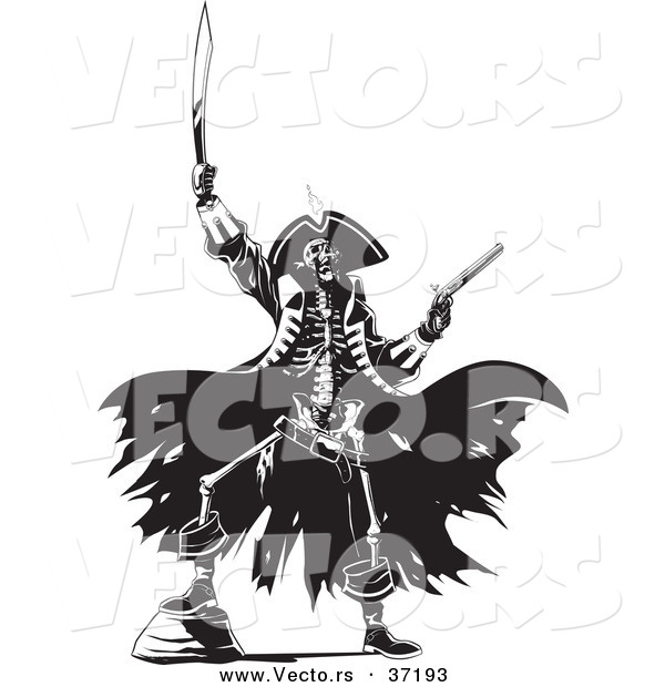 Vector of a Pirate Skeleton Raising Hell with a Sword and Revolver - Black and White Line Art
